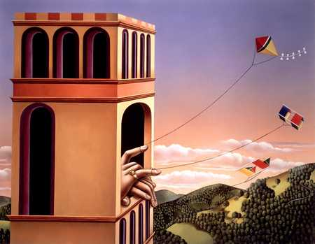 Tower With Hands Flying Kites