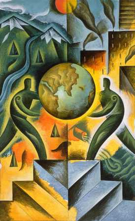 Two men holding globe with industry and nature landscape