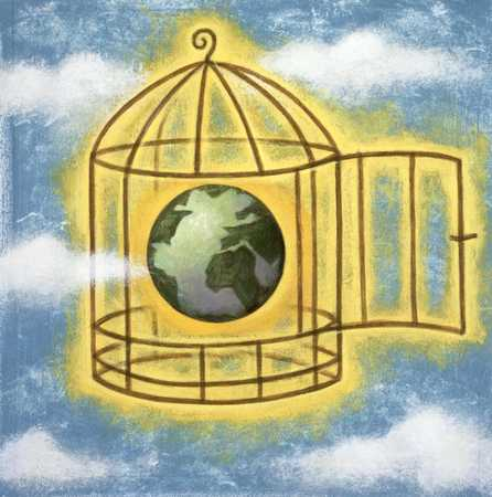 Globe in a birdcage