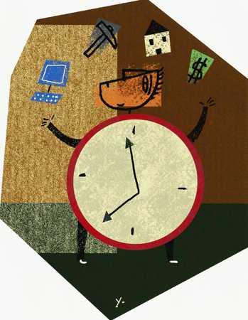 Clock-Man Juggling Objects