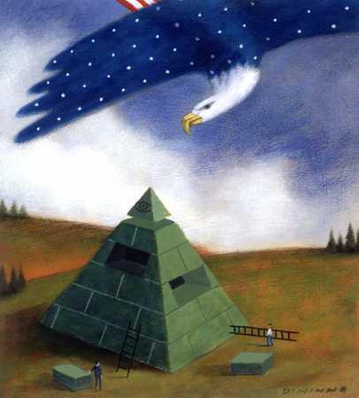American Eagle Overlooks Pyramid