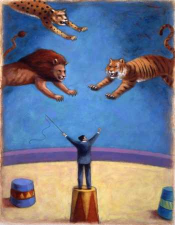 Felines Leaping At Man In Circus