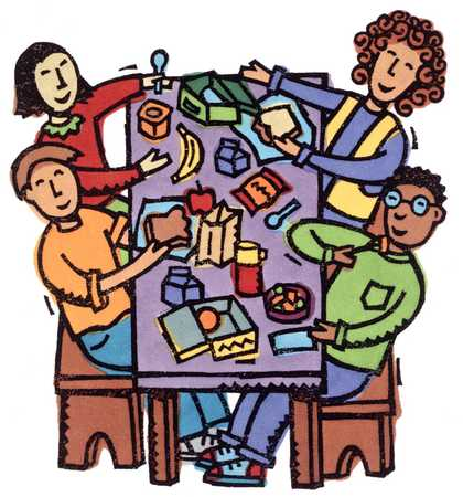 Stock Illustration Children At Lunch Table
