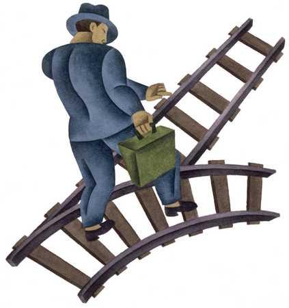 Businessman On Train Tracks