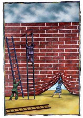 Going Under Brick Wall Curtain