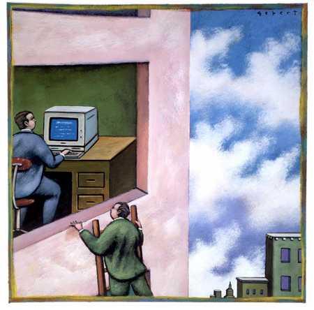 Man Sneaking A Peek At Computer