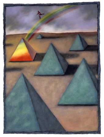 Man On Rainbow To Pyramid