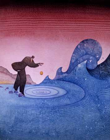 Man Dropping Rock In Water
