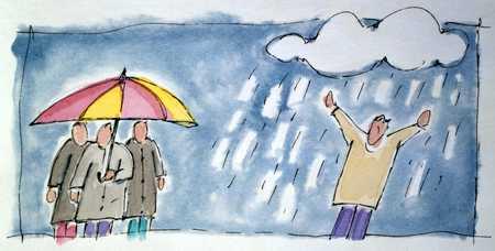 Person In Rain And People Under Umbrella