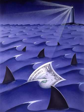 Dollar Surrounded By Sharks