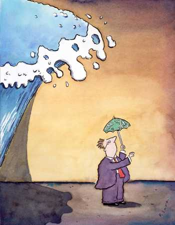 Businessman Under Wave