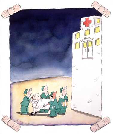 Doctors And Patient Outside Hospital