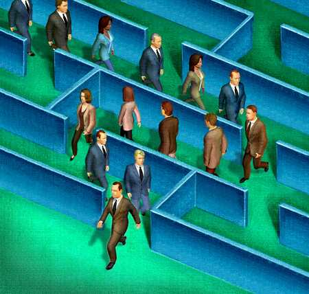 Businesspeople marching through maze