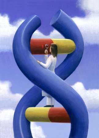 Woman inspecting huge DNA