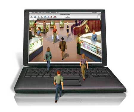 People stepping through laptop into store