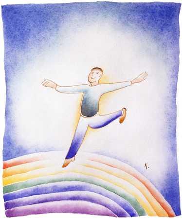 Man Dancing On Rainbow