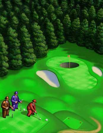 Men Hitting Golf Balls Into Oversize Hole