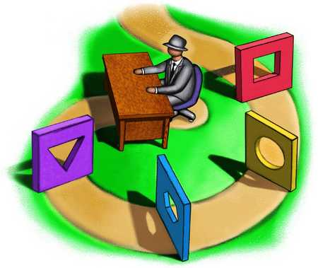Man At Desk At End Of Obstacle Path