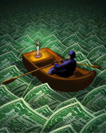 Man In Boat With Candle On Money Sea