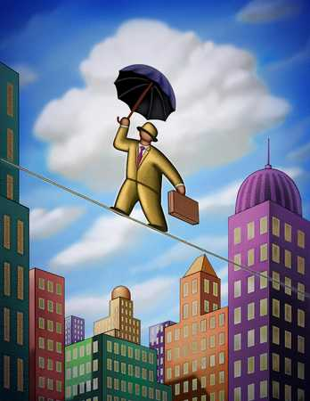Man Balancing On Tightrope In City