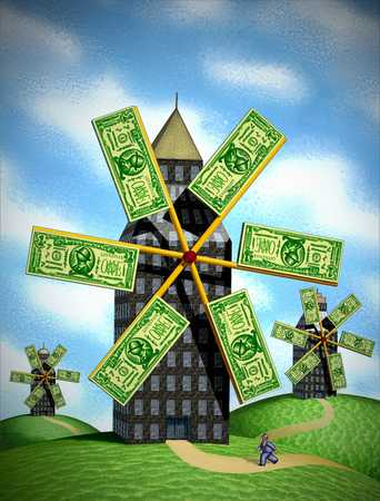 Office building with a money windmills