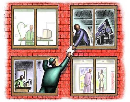 Men Passing Paper Between Offices