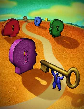 Man With Key On Road With Keyhole Heads