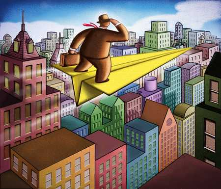 Man On Paper Airplane Over City
