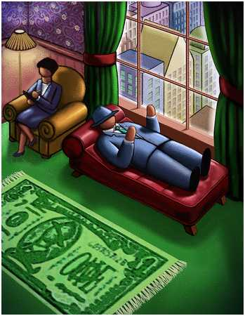 Man In Psychologist's Office With Money Rug