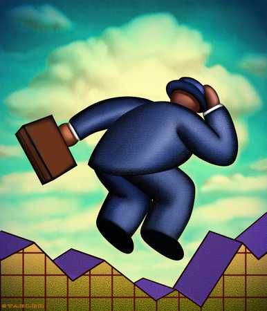 Man Jumping Over Graph