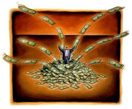 Man In Pile Of Money