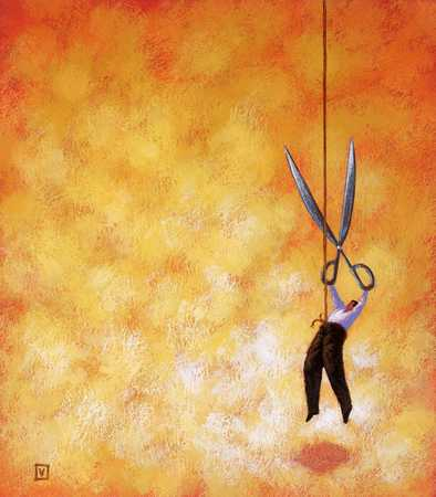 Man dangling from rope with scissors