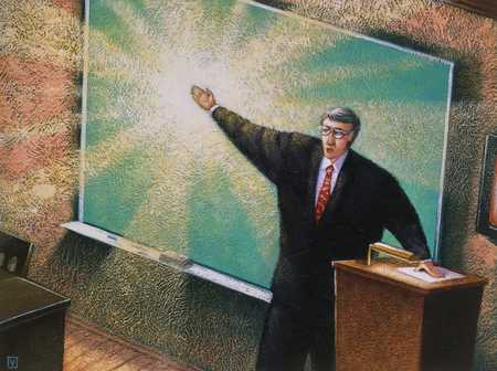 Teacher at blackboard giving off light