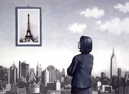 Woman Looking At Eiffel Tower Picture Over Manhattan