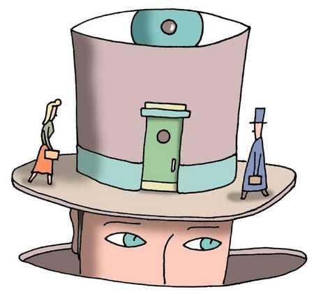 Top hat as building under surveillance