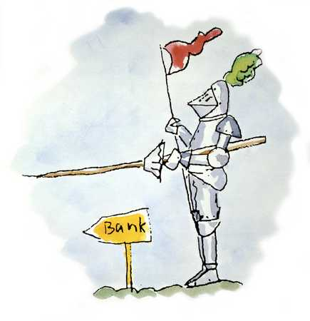 Armored Man With Lance And Flag