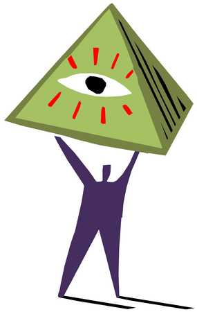 Figure holding pyramid with eye