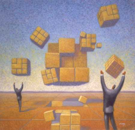 Men with floating cubes