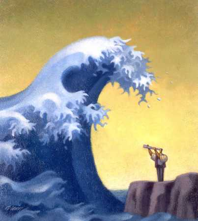Man With Telescope On Rocks Facing Wave