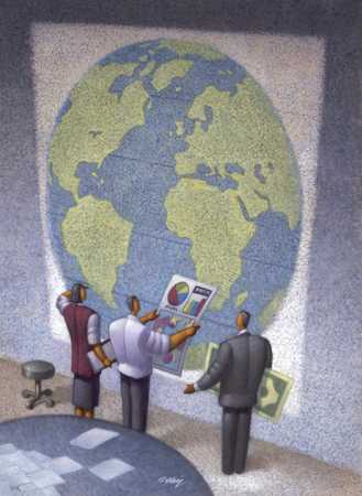 Businesspeople In Front Of Globe With Charts