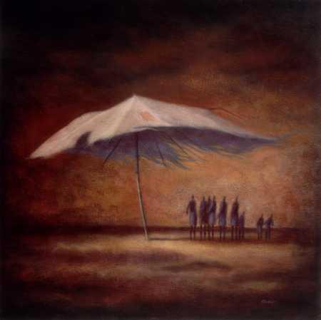 People Under Shredded Umbrella