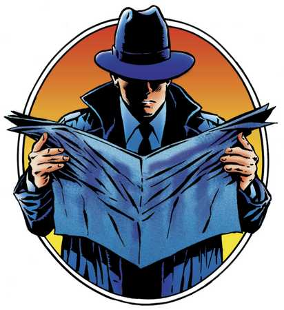 Detective with newspaper
