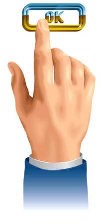 Finger pressing ok button