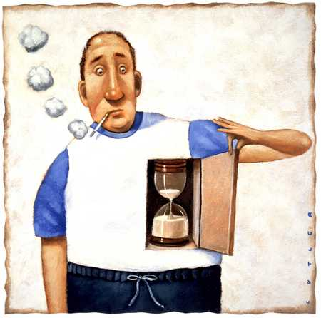 Smoking man with hourglass in chest
