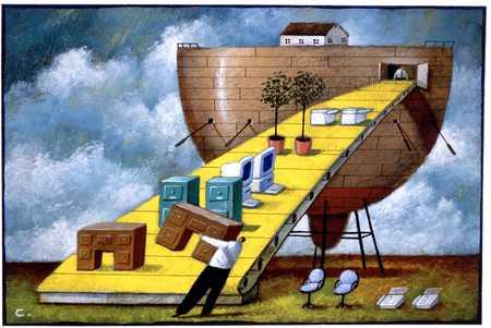Loading office equipment onto ark