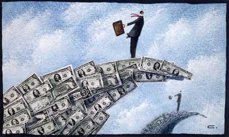 Businessmen on money waves