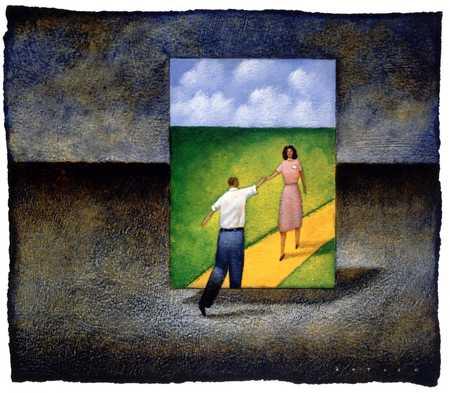 Man meeting woman in painting