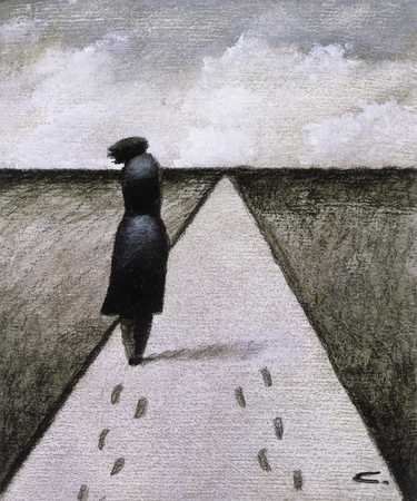 Woman on path with two sets of footprints