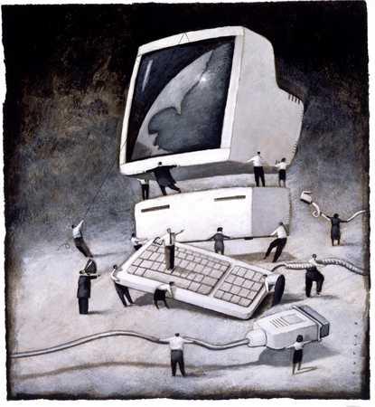 Businesspeople assembling computer