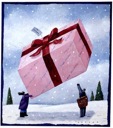 Person giving giant gift to postman
